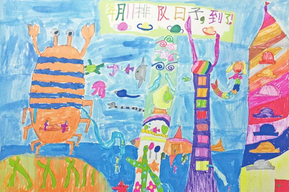 城市楼房简笔画儿童画